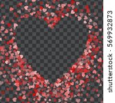 red frame of scatter confetti... | Shutterstock .eps vector #569932873