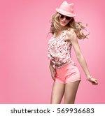 fashion woman having fun dance. ... | Shutterstock . vector #569936683