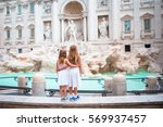 adorable little girls near the... | Shutterstock . vector #569937457