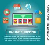 online shopping illustration... | Shutterstock .eps vector #569940697
