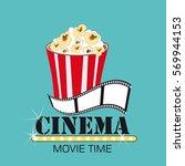 popcorn box  film strip  cinema ... | Shutterstock .eps vector #569944153