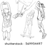 set of sketched girls. person... | Shutterstock .eps vector #569954497