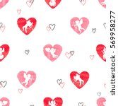 seamless pattern with cute... | Shutterstock .eps vector #569958277