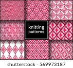 knitted seamless patterns.... | Shutterstock .eps vector #569973187