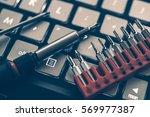 laptop computer upgrade concept.... | Shutterstock . vector #569977387