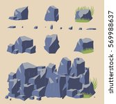 rock stone vector icon boulders ... | Shutterstock .eps vector #569988637