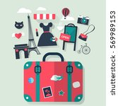 suitcase in paris tourism... | Shutterstock .eps vector #569989153
