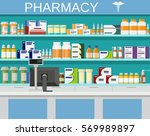 modern interior pharmacy and... | Shutterstock .eps vector #569989897