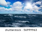 Storm Sea With White Horses On...