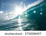 surfing wave with bright sun... | Shutterstock . vector #570008407