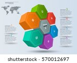 vector abstract 3d paper... | Shutterstock .eps vector #570012697
