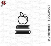 web line icon. apple on books ...