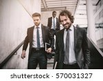 group of businessmen climbing... | Shutterstock . vector #570031327