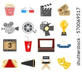 cinema and movie flat icons set ... | Shutterstock .eps vector #570069517