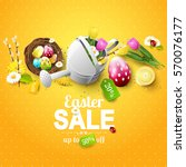 easter sale flyer with flowers  ... | Shutterstock .eps vector #570076177
