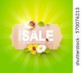 spring sale flyer   paper label ... | Shutterstock .eps vector #570076213