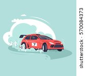 rally car. flat vector... | Shutterstock .eps vector #570084373