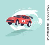 rally car jumping. flat vector... | Shutterstock .eps vector #570084427