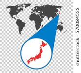 world map with zoom on japan.... | Shutterstock .eps vector #570084523