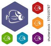 fish icons set rhombus in... | Shutterstock .eps vector #570105787