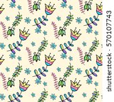 vector floral pattern in doodle ... | Shutterstock .eps vector #570107743