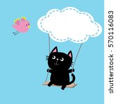 cat ride on the swing. cloud... | Shutterstock .eps vector #570116083