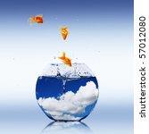 goldfish and aquarium. collage. | Shutterstock . vector #57012080