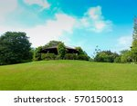 green grass and blue sky | Shutterstock . vector #570150013
