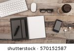 top view work space  on a...   Shutterstock . vector #570152587
