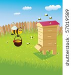 beehive and bees. apiary on the ... | Shutterstock .eps vector #57019589