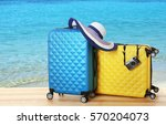 travel concept. suitcases on... | Shutterstock . vector #570204073