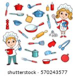 set of cartoon kitchen ware and ...
