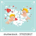 vector valentines flying cupids ... | Shutterstock .eps vector #570252817