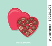 valentines day chocolate candy... | Shutterstock .eps vector #570261073
