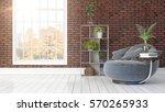modern bright interior with... | Shutterstock . vector #570265933