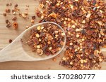 red chili spice and wooden... | Shutterstock . vector #570280777