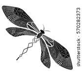 dragonfly zentangle...   Shutterstock .eps vector #570282373