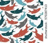shark seamless pattern. stamp ... | Shutterstock .eps vector #570287413