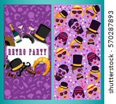 Retro party two sides poster, flyer or invitation design with patterns and photo booth props elements. Handmade drawing vector illustration. Art deco style.