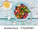 mediterranean salad with... | Shutterstock . vector #570289087