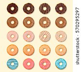 donuts set. sweet and tasty... | Shutterstock .eps vector #570295297