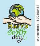save earth or go green earth... | Shutterstock .eps vector #570300457