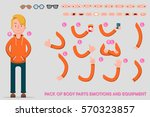 Creating the character of the student. Icons with various types of faces, emotions, clothing. In front, a male person. Move your hands. Chairman. Council. Vector illustration. | Shutterstock vector #570323857