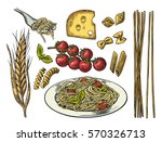 set pasta with tomato branch ... | Shutterstock .eps vector #570326713