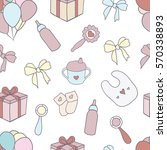 seamless pattern with hand... | Shutterstock .eps vector #570338893