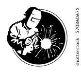 logo welder black silhouette ... | Shutterstock .eps vector #570360673