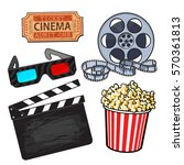 cinema  movie objects   popcorn ... | Shutterstock .eps vector #570361813