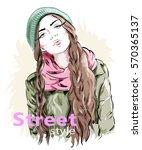 fashion girl wearing modern... | Shutterstock .eps vector #570365137