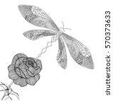 dragonfly zentangle...   Shutterstock .eps vector #570373633