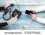 old and new phone. concept of... | Shutterstock . vector #570379363